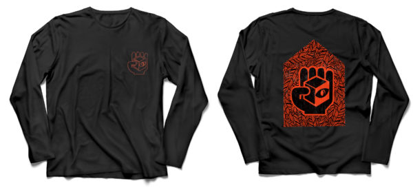 A long-sleeved black T shirt, with red outline cube logo on front left breast, and a woodcut-like geometric design featuring the cube logo in red on the back