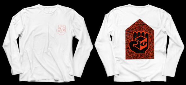A long-sleeved white T shirt, with red outline cube logo on front left breast, and a woodcut-like geometric design featuring the cube logo in red on the back