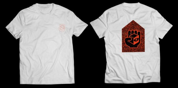 A short-sleeved white T shirt, with red outline cube logo on front left breast, and a woodcut-like geometric design featuring the cube logo in red on the back